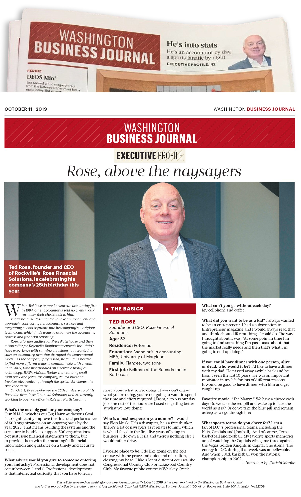 Ted Rose featured in WBJ